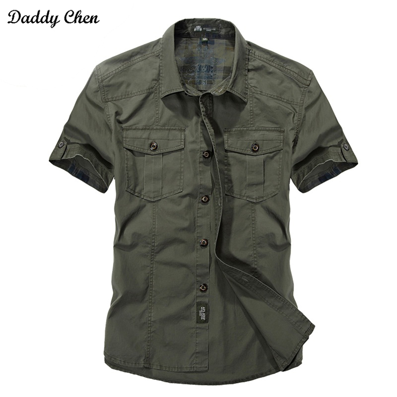 Jeep Solid Color Cotton Mens Shirts Short Sleeve Turn-down Collar Army Green Khaki Men Tops Casual Male Camisas Shirt XXXL