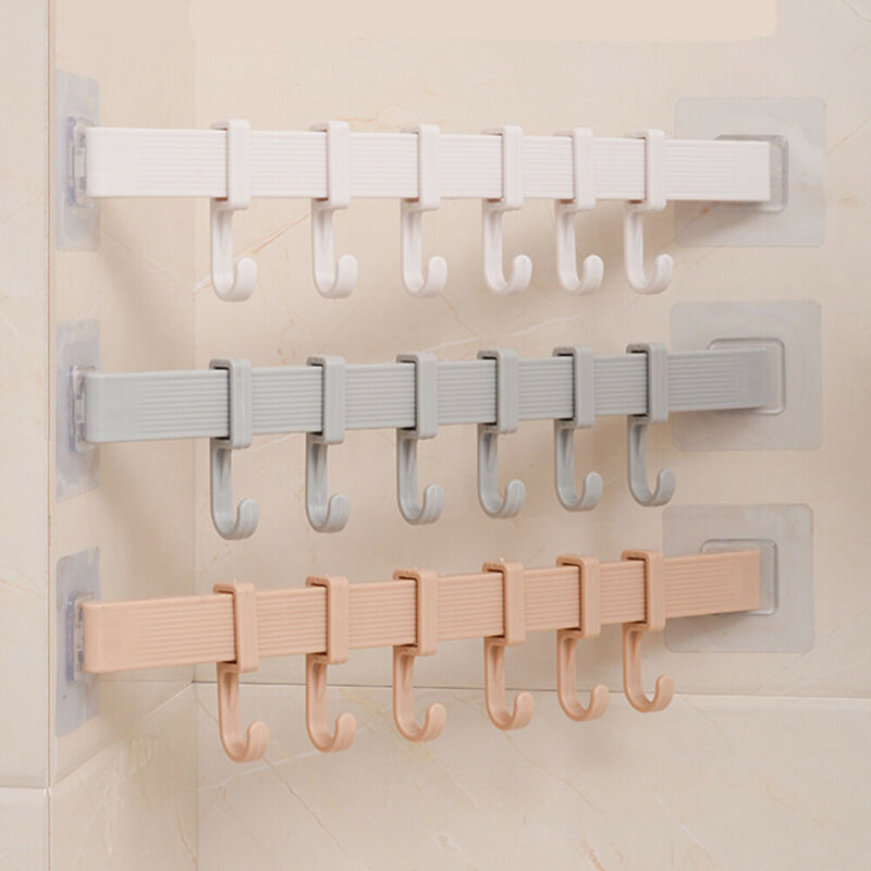 6 Hooks Towel Rack Suction Cup Bathroom Kitchen Wall Door Holder Sucker Hanger