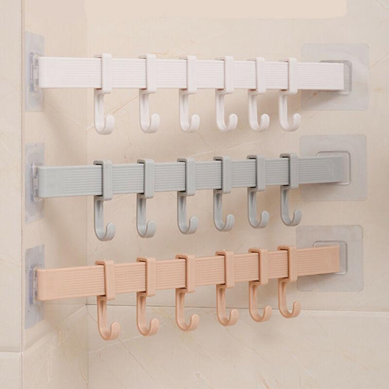 6 Hooks Towel Rack Suction Cup Bathroom Kitchen Wall Door Holder Sucker Hanger