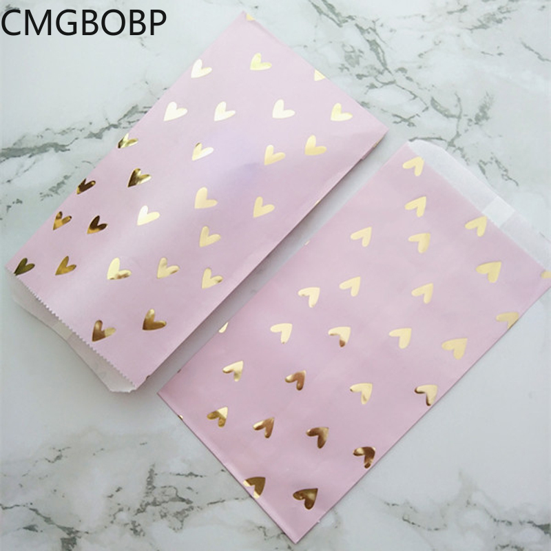 25pcs Pink Paper Treat Bags Gold Foil Heart Party Gift Candy Kraft Bag For Birthday Baby Shower Wedding Paper Bags For Gifts