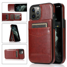 Card Slot Holder Cover For iPhone 12 mini 11 12 Pro Max 7 8 Plus SE 2020 Luxury Leather Retro Shockproof Protection Back Cover