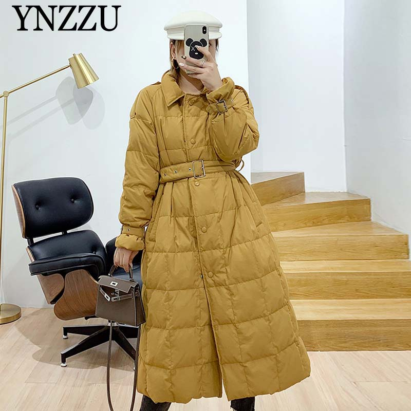 2019 Winter Yellow Warm Women   down   jacket Long sleeve With belt loose Female   down     coat   Chic Solid color Long outwear YNZZU YO964