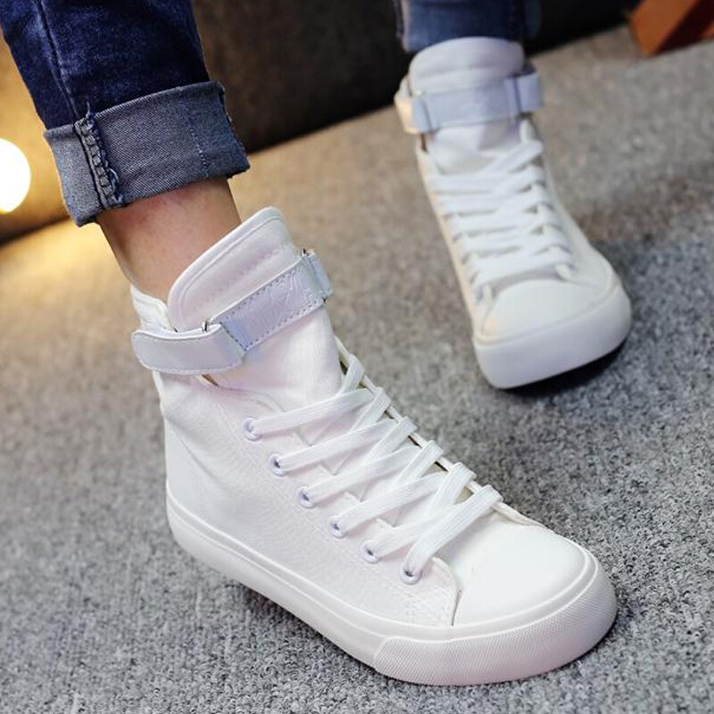 Female Sneakers Black Canvas Shoes White Women Casual Shoes Flat Female Basket Lace Up Solid Trainers Chaussure Femme