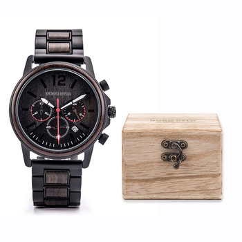Erkek Saatler DODO DEER Wood Watch For Men Waterproof Stainless Steel Chronograph Luxury Wood Watch Men's Best Gift Dropshipping redear top quality wood men watch automatic zebra wood and ebony black watch the best gift for man without logo