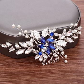 Niebieski kryształ grzebień do włosów diadem dla panny młodej ślubne akcesoria do włosów Handmade liść perła kobiety szpilki do włosów biżuteria do włosów ślubna chluba tanie i dobre opinie NoEnName_Null Zinc Alloy FS202 PLANT TRENDY Włosów grzebienie Hairwear Moda Metal Crystal Hair Comb Wedding Hair Accessories