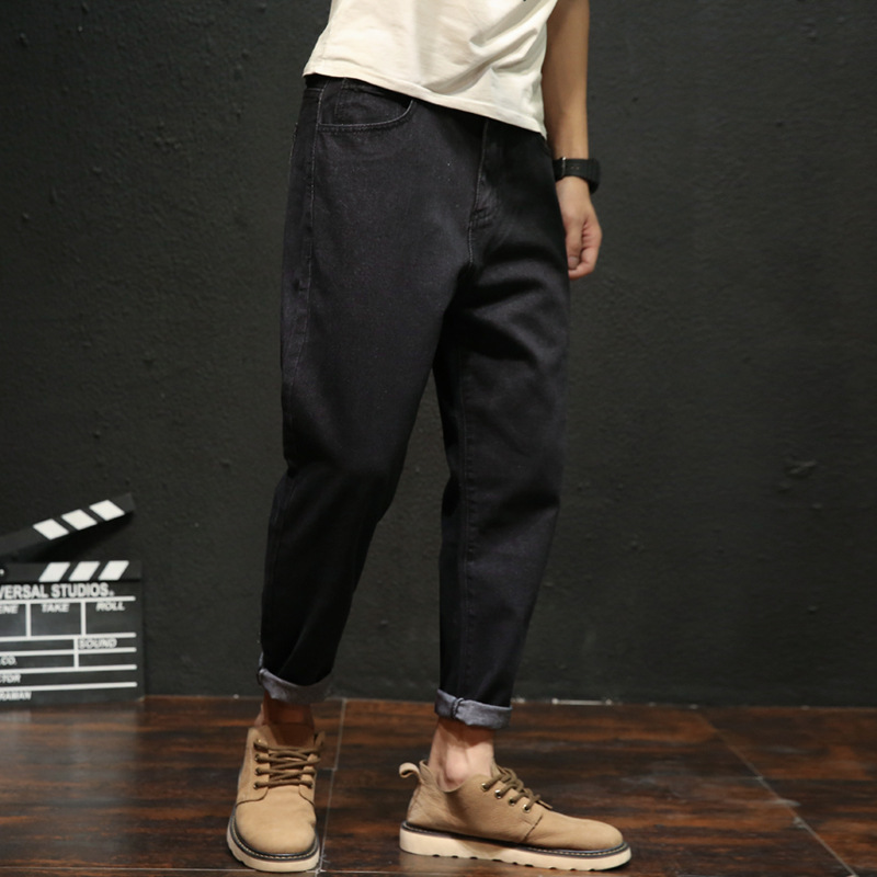 Spring And Summer Fashion New Plus Fat Large Size Men's Casual Denim Cropped Pants Wide Pants Loose Men's Jeans 2019