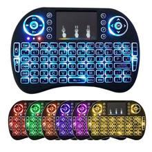 Rusça İspanyolca i8 Mini 7 renk arkadan aydınlatmalı klavye 2.4GHz Touchpad Fly Air fare 667C