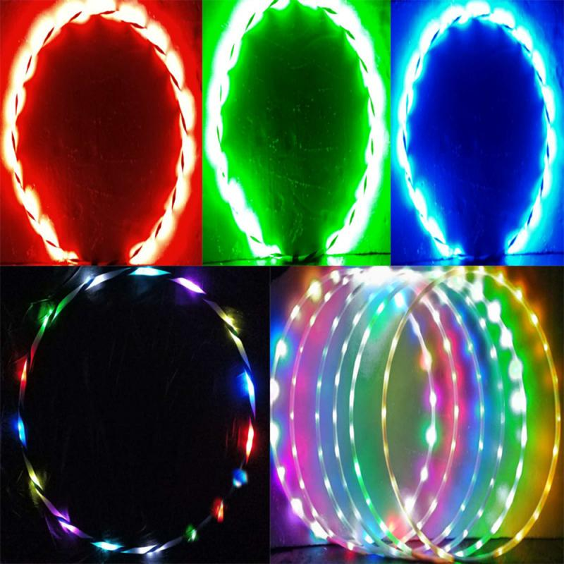 24 Color Changing LEDs Fitness Hoop Fully Rechargeable Collapsible Fat Loss Light Fitness Equipments Circle Hoop New Year's Gift