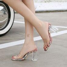 2020 Women 8cm High Heels Lady Scarpins Satin Sandals Female Wedding Transparent