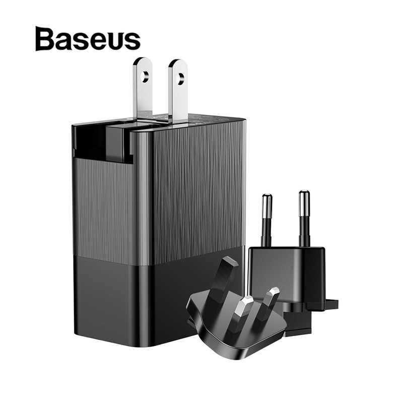 BASEUS 3 Port USB Charger 3in1 Triple Uni Eropa US UK Plug 2.4A Perjalanan Dinding Charger Adapter untuk Iphone Samsung Xiaomi telepon USB Charger