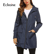 Autumn Waterproof Hooded Women long trench coat 2019 Classic Zippers Pockets Womens Trench Business Casual Outerwear Windbreaker