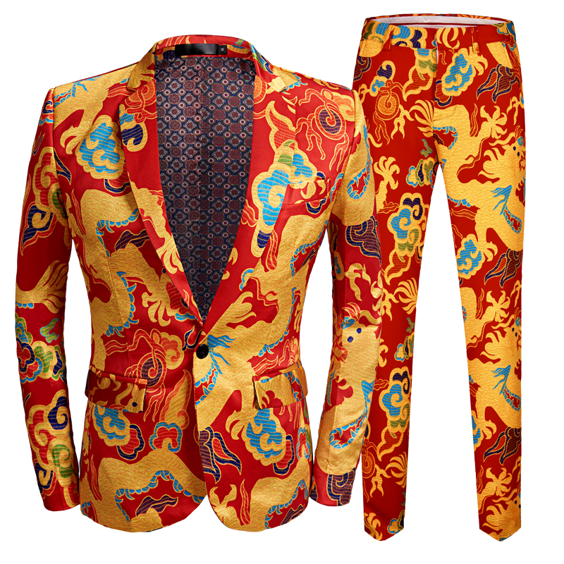 New Chinese Style Red Dragon Print Suit Men Stage Singer Wear 2 Pieces Set Slim Fit Wedding Tuxedo Costume Ball  Party
