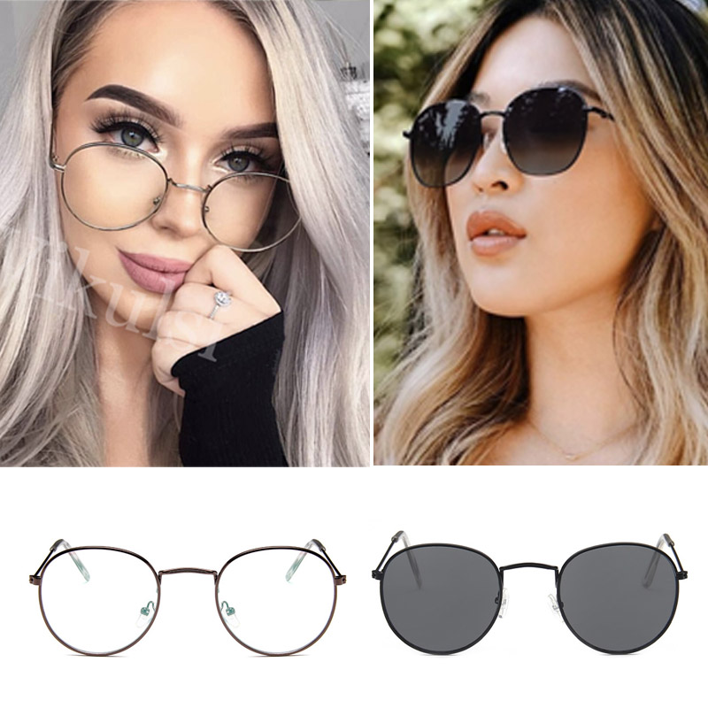 Oversized Sunglasses Round Circle Ocean Lens Silver Metal Vintage Retro Fashion