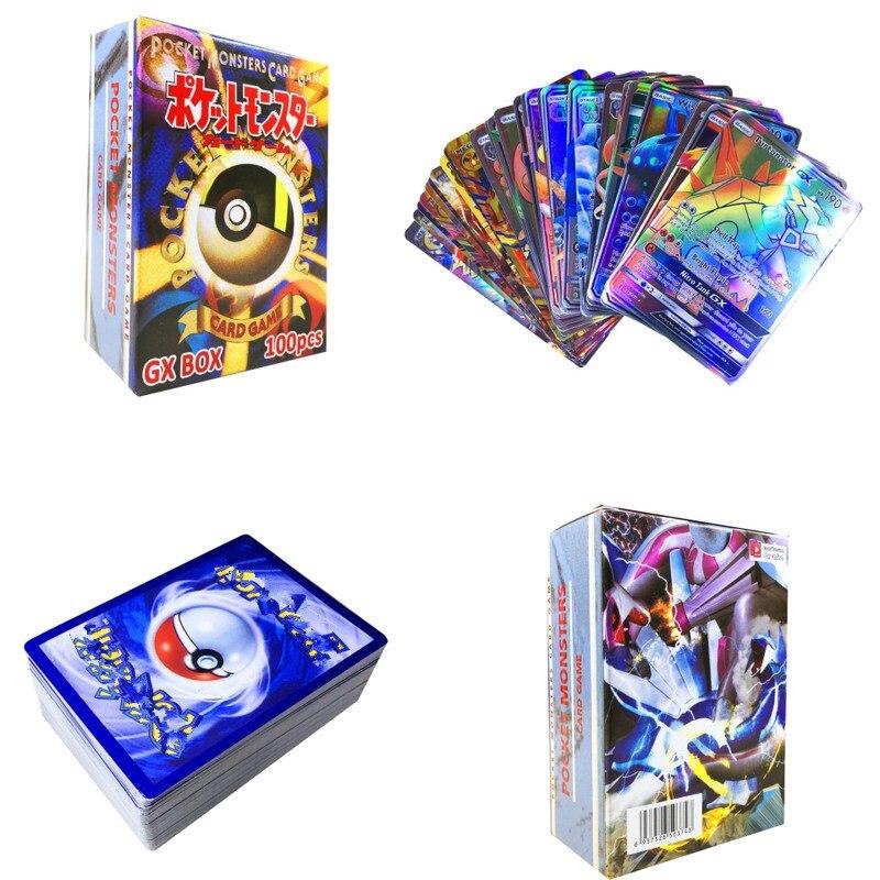 100 шт GX EX Мега Сияющие карты игры битва карт нет повторения Пикачу карточная игра для детей Рождественский подарок на день рождения