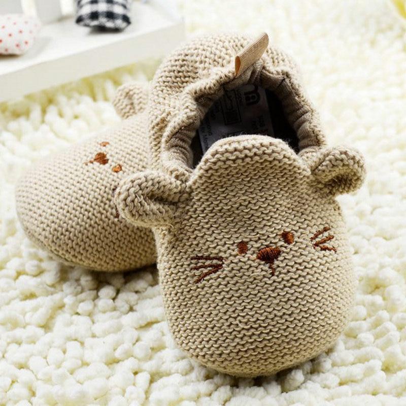 High Quality 0-18M Infant Toddler Baby Knit Crib Shoes Newborn Boy Girl Cartoon Shoes