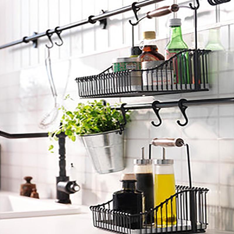 Iron Storage Basket Under Shelf Wire Rack Cabinet Basket Kitchen Organizer Cupboard Home Supplies Finishing Organizer Bin