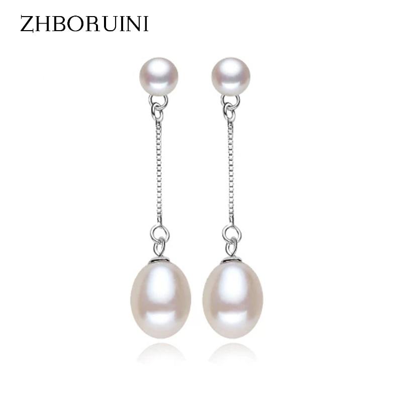 ZHBORUINI Fashion Pearl Earrings Natural Freshwater Pearl Drop Earring 925 Sterling Silver Jewelry Pearl Jewelry For Women Gift