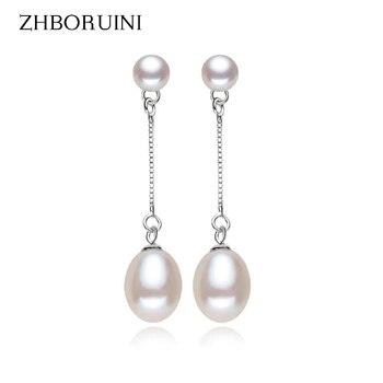 ZHBORUINI Fashion Pearl Earrings Natural Freshwater Pearl Drop Earring 925 Sterling Silver Jewelry Pearl Jewelry For Women Gift цена 2017