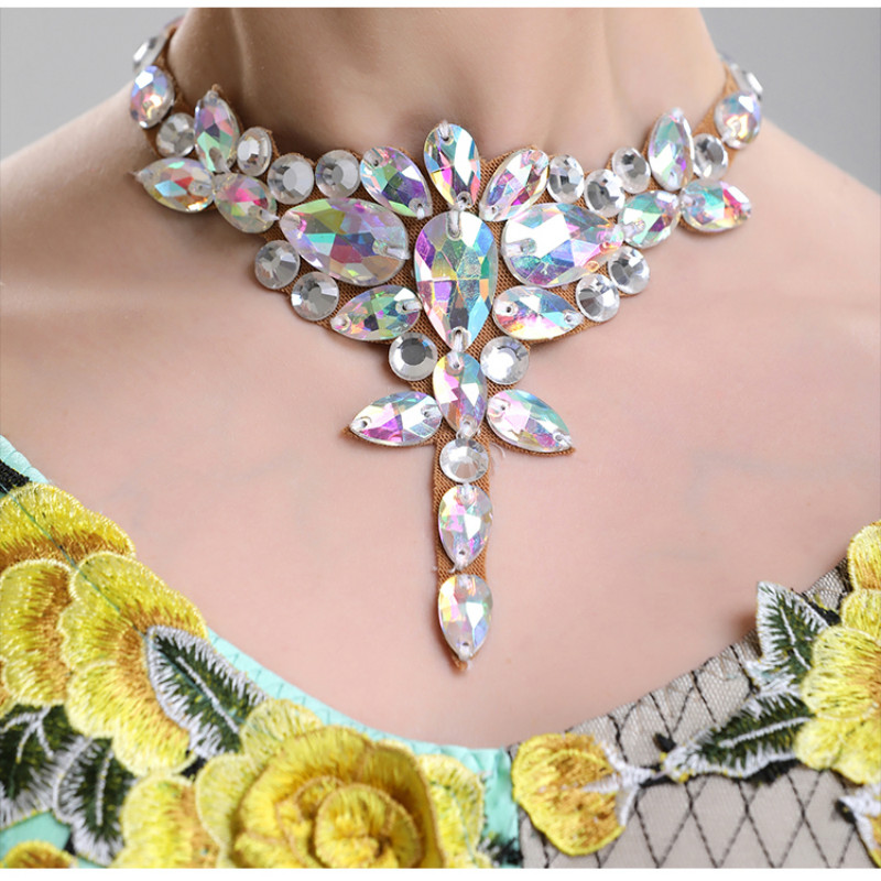 H2605 Women Necklace Dance Neck Accessories Ornament National Standard Dance Performance Diamond Popular Necklaces Jewelry Gift