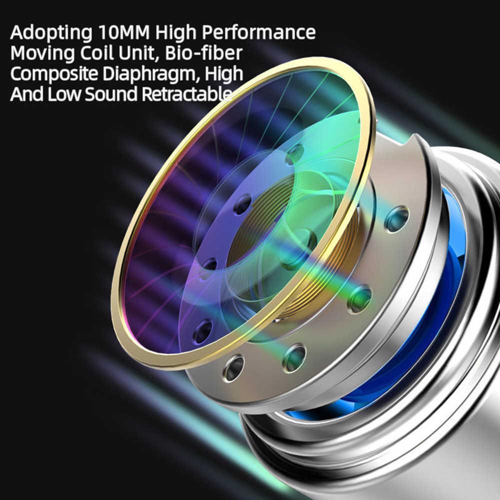 Hifi przewodowe słuchawki Stereo Bass podwójny napęd słuchawka douszna dwa głośniki Quad-core elastyczny kabel Anti-Wrap z mikrofonem HD