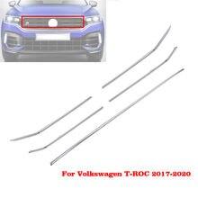17 - 19 для Volkswagen VW T-Roc автомобильный передний капот средняя Заготовка решетка радиатора горизонтальная отделка Стикеры для стайлинга Серебря...