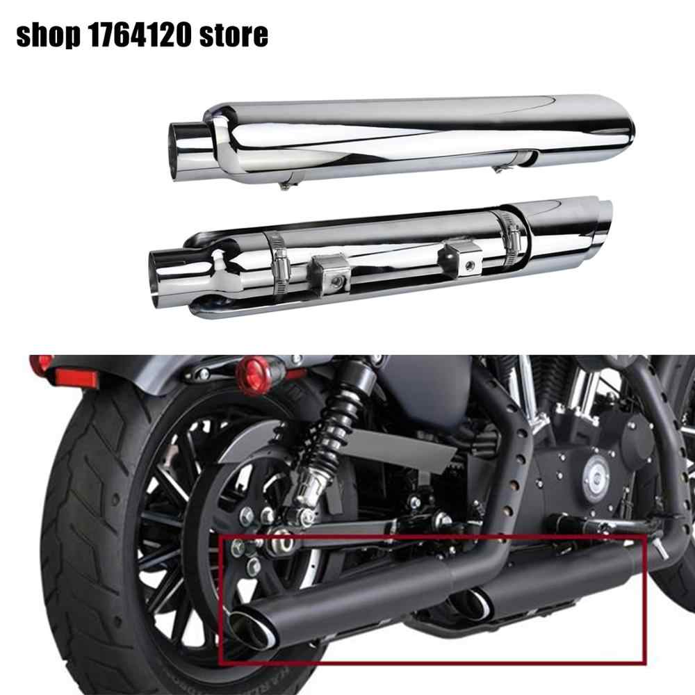 motorcycle exhaust pipe muffler slip on w heat shield shortshots exhaust pipes for harley sportster xl 883n iron xl1200 48