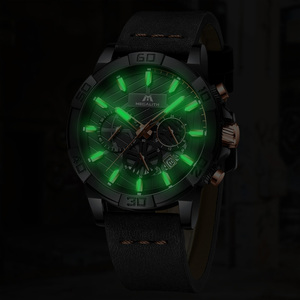 Image 4 - reloj hombre watches MEGALITH sport chronograph waterproof watch men top brand luxury luminous watch men leather horloges mannen
