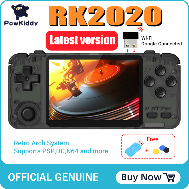 POWKIDDY RK2020 3D games Retro Console 3.5inch IPS screen portable handheld game console PS1 N64 games video game player 1