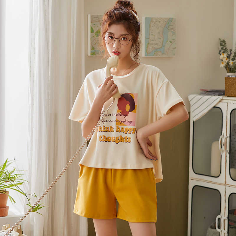 Bzel laranja pijamas conjuntos senhoras pijamas terno nova primavera homewear pijamas de algodão bonito dos desenhos animados pijamas para as mulheres macio pijamas