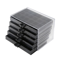 120 Grids Nail Decoration Sequence Organize Box Transparent Empty Nail Art Isplay Holder Case Manicure Tool#Black