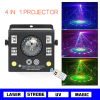 Free shipping 4 in 1 LED stage projector strobe magic crystal ball uv laser stage effect beam spot for di disco remote dmx