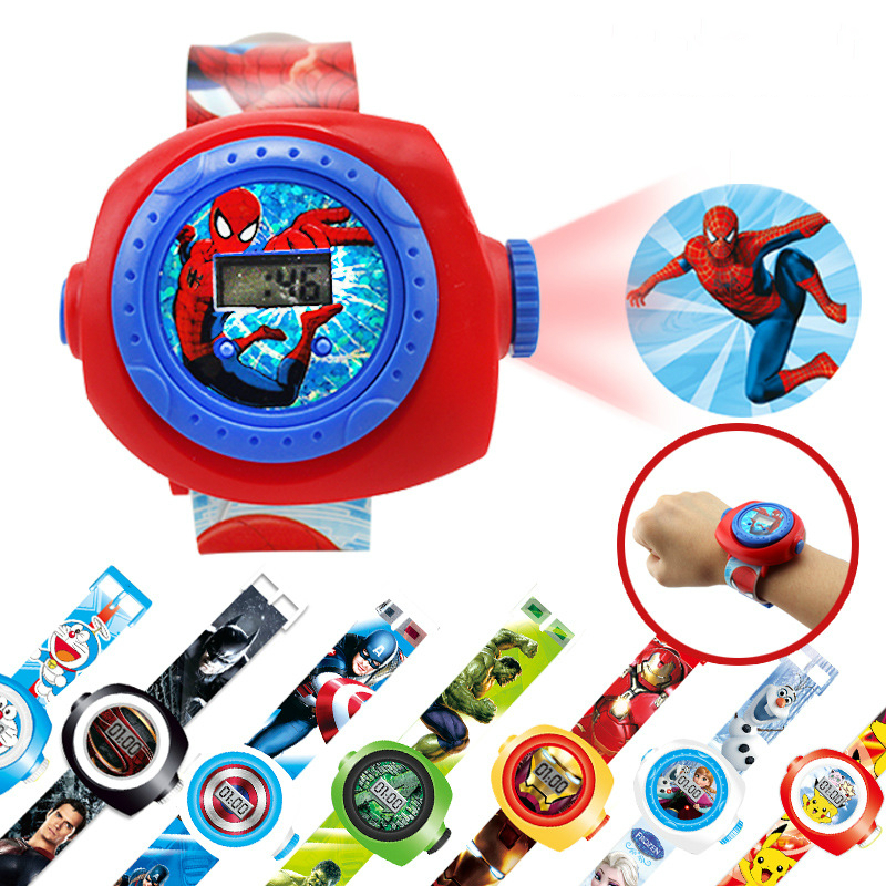 Cartoon 19 Patterns Spiderman Watch For Children Kids Watches 3D Projection Glow LED Digital Watches For Girls Boys Xmas Gifts