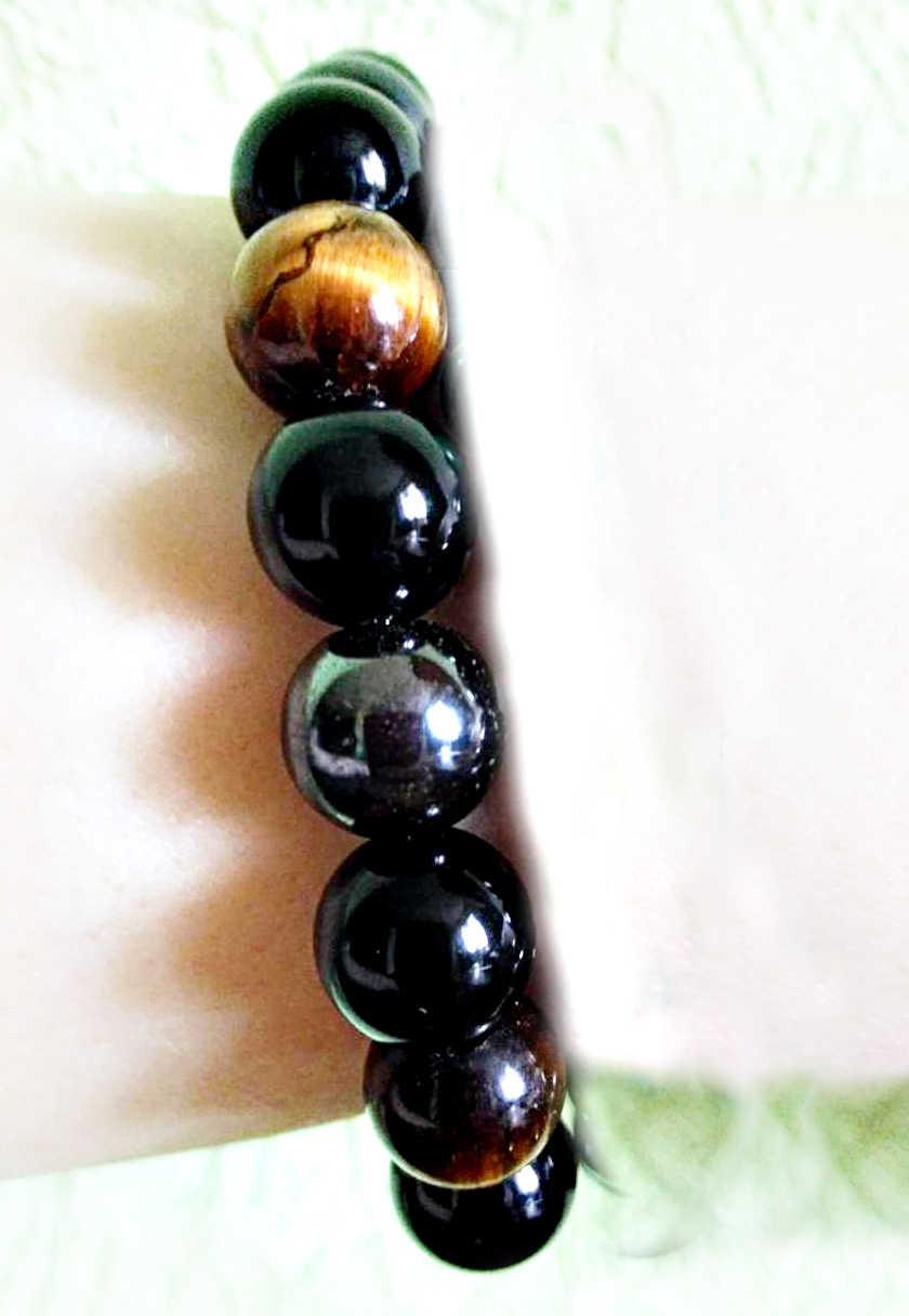 FLTMRH Tiger Eye & Hematite & Black Obsidian 6mm สร้อยข้อมือหินเครื่องประดับสำหรับของขวัญผู้หญิงสร้อยข้อมือผู้ชาย