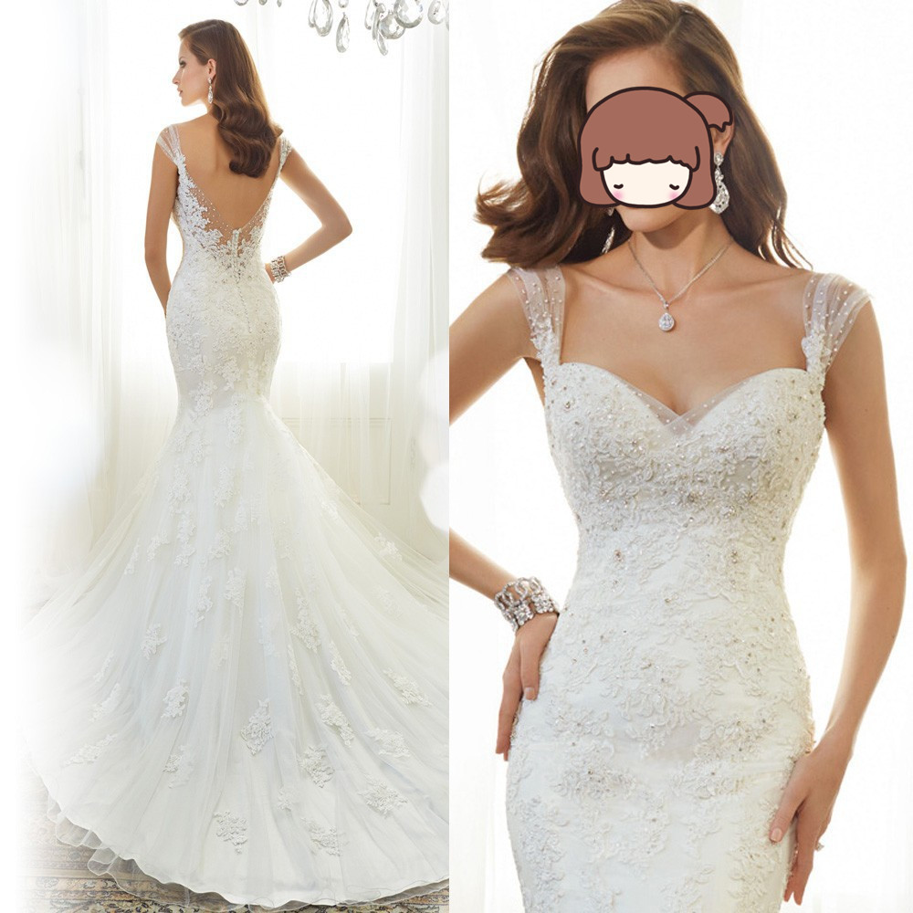 2019 Robe De Mariee Lace Mermaid Wedding Dresses Backless Bridal Gowns Cap Sleeve Court Train Vestido De Noiva Wedding Dress