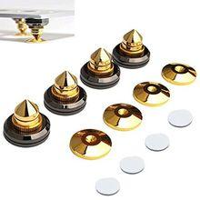 4Set Shockproof Speaker Spike Gouden Voeten Kegel Basis Pads Voor Audio Versterker Draaitafel Isolatie Cd Kit