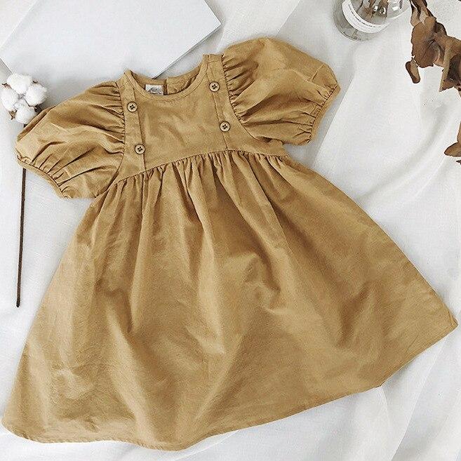 WLG/летние платья для девочек детское однотонное плиссированное платье цвета хаки с круглым вырезом и короткими рукавами Повседневная униве...