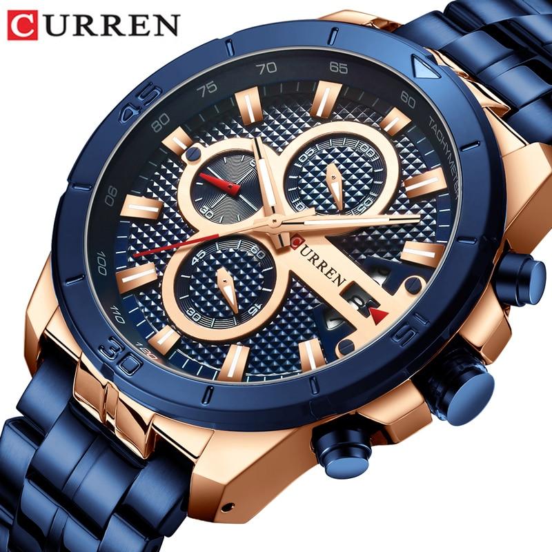 Stainless Steel Business Quartz Men Watch Luxury Chronograph  Watches CURREN Wristwatches Men  Relogio MasculinoZegarek Meski