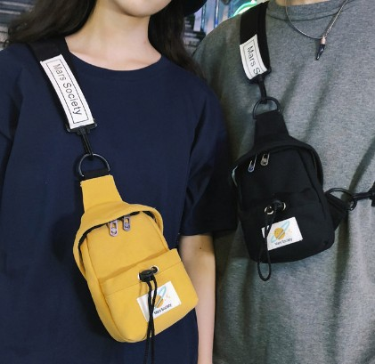 Puimentiua Small Canvas Chest Pack Men Women Crossbody Bags Streetwear Bag Fanny Pack Multifunction Mini Belt Waist Chest Bag in Waist Packs from Luggage Bags