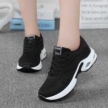 ZHENZU moda kadınlar hafif Sneakers koşu ayakkabıları açık spor ayakkabı nefes örgü konfor hava yastığı Lace Up