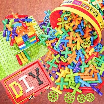 цена на Educational DIY Water Pipe Building Blocks Assembling Toys Enlightening Pipeline Tunnel Plastic Blocks Toys For Children Bricks