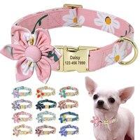 Collare per cani persoalizzato floreale collari per cani in Nylon personalizzati stampati di moda con targhetta incisa gratuita per cani di taglia medio-piccola