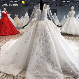 Image 1 - HTL1028 wedding dress long sleeve lace top 2020 v neck appliques sequined white women wedding gown with train vestidos de noiva
