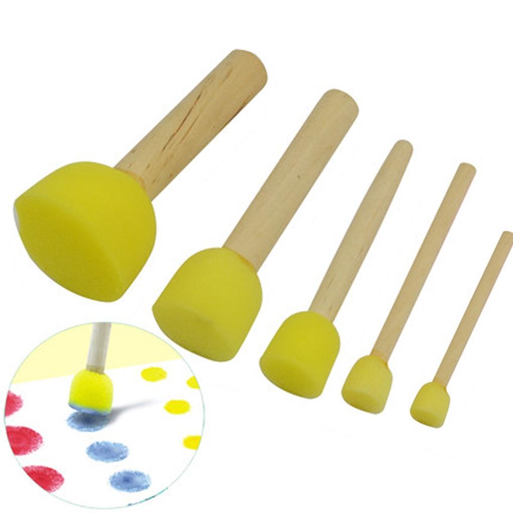 5pcs Kids Sponge Stamper Water Watercolor Oil Gouache Acrylic Paint Brush