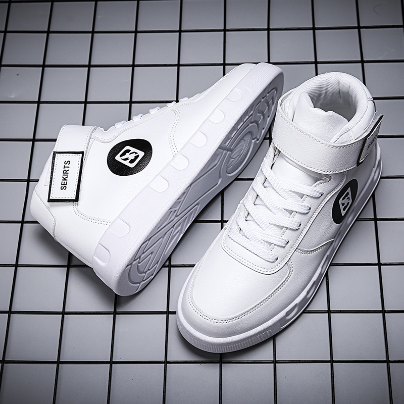 2019 Men's Fashion High-top Leather  Shoes White Sports And Leisure  Sneakers Comfort Waterproof Winter Tide Lightweight