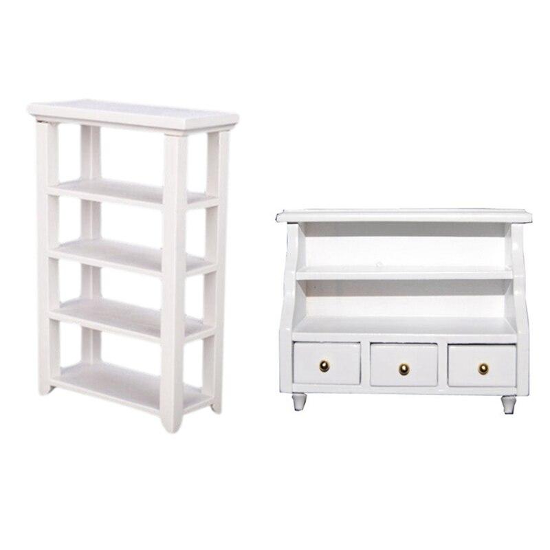 1Pcs Furniture Bathroom Cabinet Toilet Cabinet & 1Pcs Shelf 1:12 Dollhouse Miniature Furniture Wooden Study White