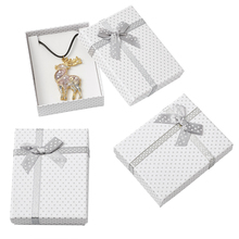 12Pcs 90x70x30mm Cardboard Jewelry Display Boxes Rectangle Gift Necklace Bracelet Earring Packaging Box With Bowknot&Sponge
