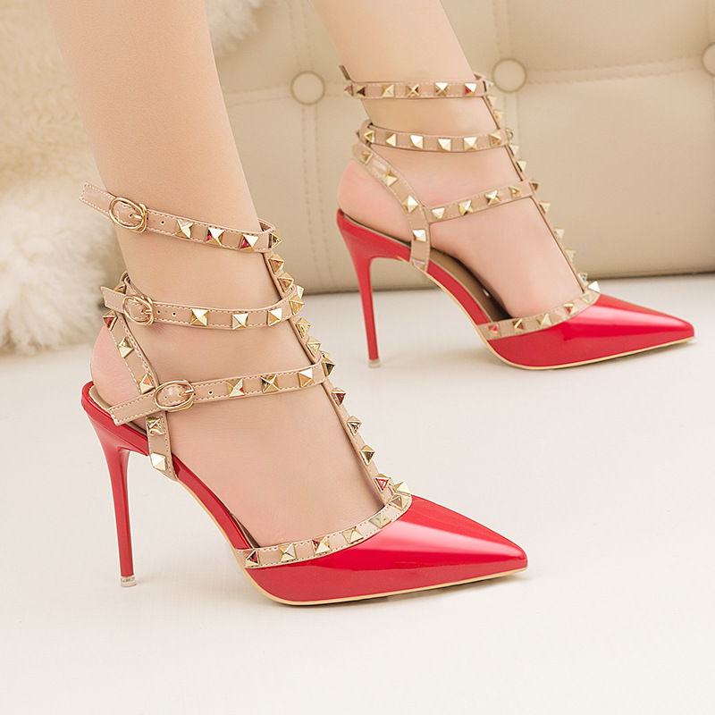 ZHENZHOU 10CM PUMPS Woman 2019 Sexy Nightclub Stiletto Heels Patent-leather Metallic Rivet Hollow Roman Fashion Sandals