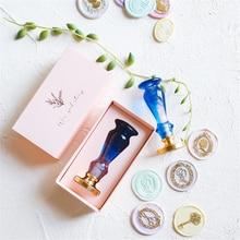 Custom 3D Stamps Box Kit Apple Key Scissors Wax Seal Kits Sealing Beads Stamp Set Envelope Wedding Gifts Journal Postcard Sets