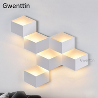 Nordic DIY 3D Geometry Wall Lamp Led Mirror Light Modern Wall Sconce for Home Bedroom Bedside Bathroon Lighting Fixtures Decor