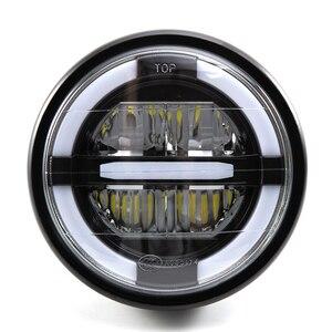 """Image 4 - 7 """"LED motosiklet cafe racer far DRL dönüş sinyal ışığı için Harley Touring yol kral Ultra klasik Electra sokak Glide"""